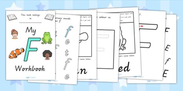 My Workbook F uppercase - letter formation, fine motor skills