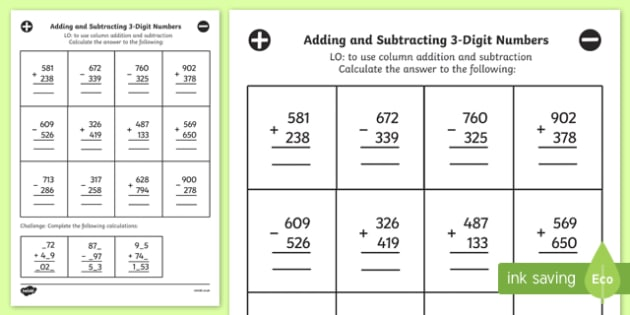 adding subtracting  digit numbers column mixed worksheet year