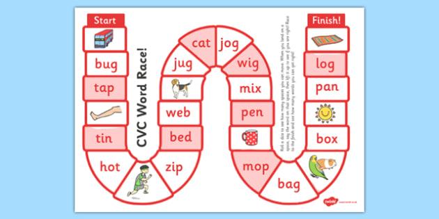 self checking cvc words board game board game cvc self check
