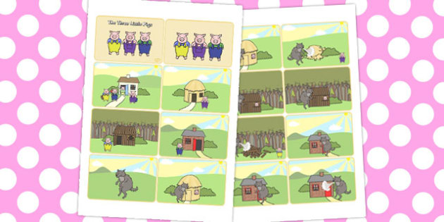 Three Little Pigs Story Sequencing 8 Per A4 - stories, sequence