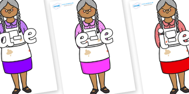 Modifying E Letters on Little Old Woman - Modifying E, letters, modify, Phase 5, Phase five, alternative spellings for phonemes, DfES letters and Sounds