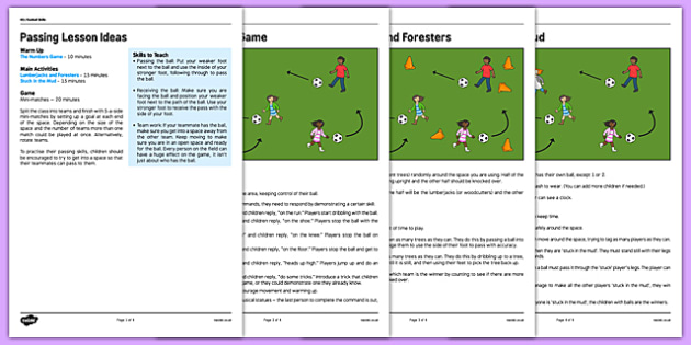 KS1 Football Skills 2 Passing Lesson Pack - football, PE, sport, exercise, KS1, year 1, year 2, skills, physical education, ball skills, team sports