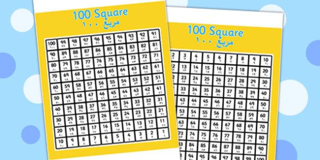 100 Square Arabic Translation - arabic, 100 square, 100, square, numbers, maths