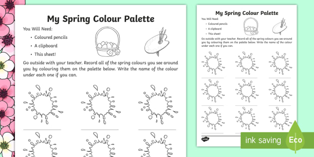 my spring colour palette worksheet activity sheet spring