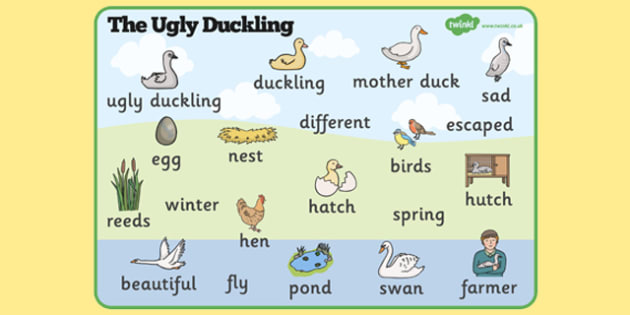 The Ugly Duckling Word Mat - The Ugly Duckling, Hans Christian Andersen, Andersen, fairy tale, word mat, writing aid, mat, Danish, bird, barnyard, swan, beautiful, ugly, transformation, tale, story, reading