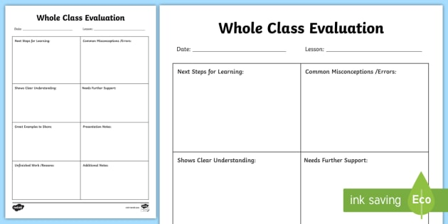 New Whole Class Lesson Evaluation Form Class Assessment