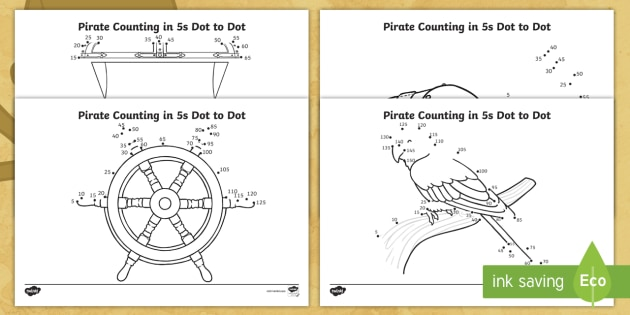 KS1 Pirate Themed Counting In 5s Dot To Dot Worksheet