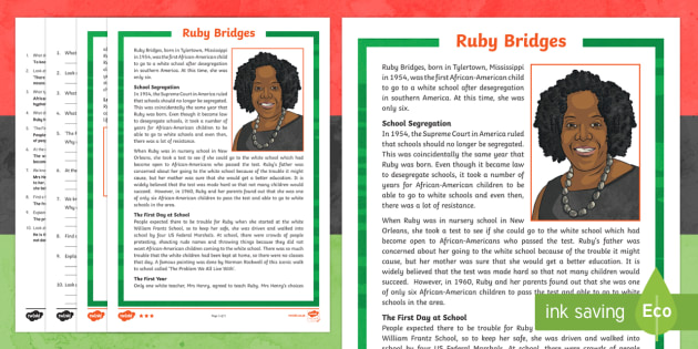 Black History Month Ruby Bridges KS2 Differentiated Reading Comprehension Activity