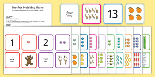 1-20 Number Matching Card Game Polish/English