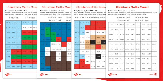 Christmas Maths Multiplication Mosaic Worksheets