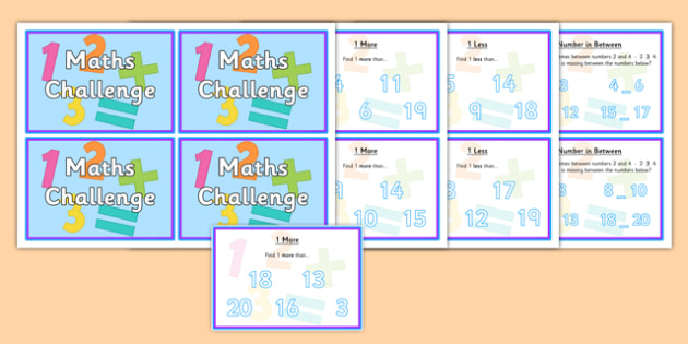 Numbers to 20 Maths Challenge Cards - numbers to 20, match, challenge, cards