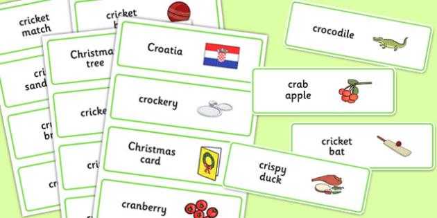Three Syllable CR Word Cards - three syllable, cr, word cards, word, cards, cr sound