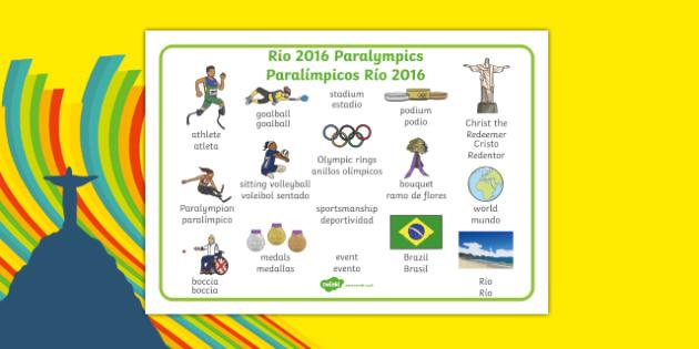 Rio Paralympics 2016 Word Mat Spanish Translation - spanish, Paralympics, Rio 2016, Brazil, Key vocabulary, Literacy, English, key words, Spelling support, Disability Awareness, Sporting Events