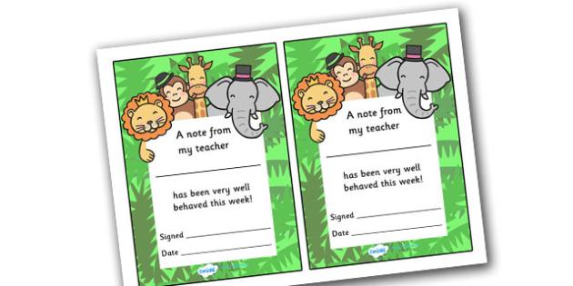 Note From Teacher Well Behaved This Week (Jungle Themed) - note from teacher well behaved this week, well behaved this week, note from teacher, notes, praise, comment, note, teacher, teacher's, parents, well behaved, this week, jungle, jungle themed,