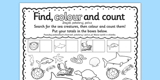 Under the Sea Find Colour and Count Worksheet / Worksheet