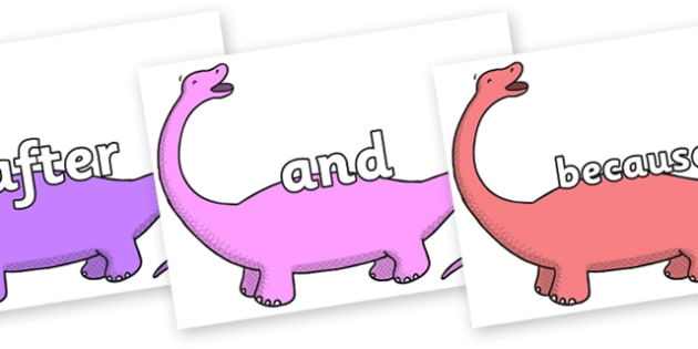 Connectives on Apatosaurus to Support Teaching on Harry and the Bucketful of Dinosaurs - Connectives, VCOP, connective resources, connectives display words, connective displays