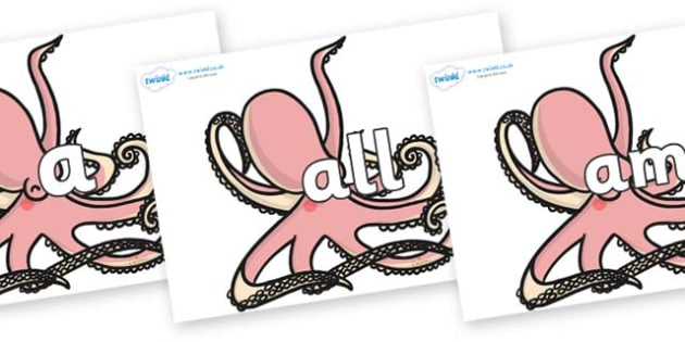 Foundation Stage 2 Keywords on Octopuses - FS2, CLL, keywords, Communication language and literacy,  Display, Key words, high frequency words, foundation stage literacy, DfES Letters and Sounds, Letters and Sounds, spelling