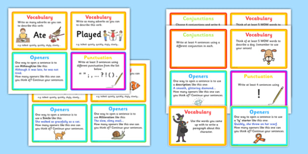 VCOP Challenge Activity Cards - game, activity, fun, VCOP, vocabulary, connectives, openers, punctuation, challenge cards, VCOP challenge cards, VCOP challenges fun activity, fun game, learning, play, KS2