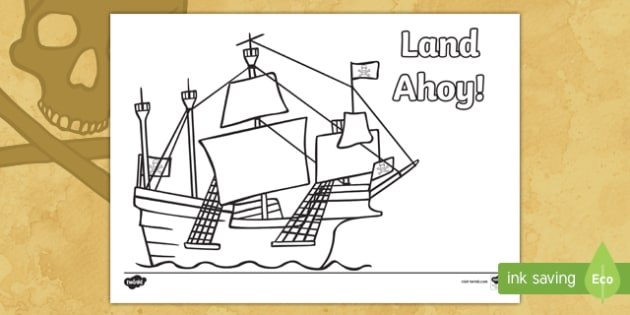 Land Ahoy Pirate Ship Colouring Page Pirate Ahoy Jolly Roger Ship