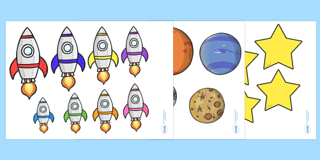 Space Size Ordering - size ordering, size, ordering, put in order, space, space size, space objects, outer space, in space, moon, sun, stars, space themed, space theme, shapes, objects, ordering activity, activity, different sizes