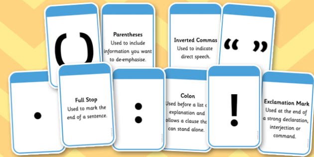 Punctuation Marks And Explanation Matching Cards - punctuation marks, explanation, punctuation marks and ecplanation matching cards, matchin cards, flashcards, match, card, explaining, punctuation marks, punctuation