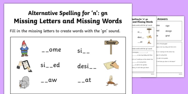 Gn Grapheme Missing Words Phase 5 Alternative Spelling Worksheet