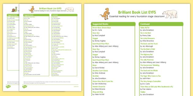 Brilliant Book List EYFS Book List