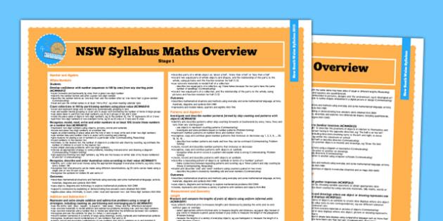 Australia NSW Syllabus Maths Stage 1 Overview - New South Wales, mathematics, Australia