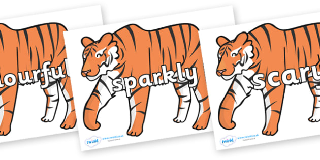 Wow Words on Chinese New Year Tiger - Wow words, adjectives, VCOP, describing, Wow, display, poster, wow display, tasty, scary, ugly, beautiful, colourful sharp, bouncy