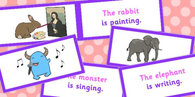 SV Picture Description Cards Unusual Sentences - unusual, cards