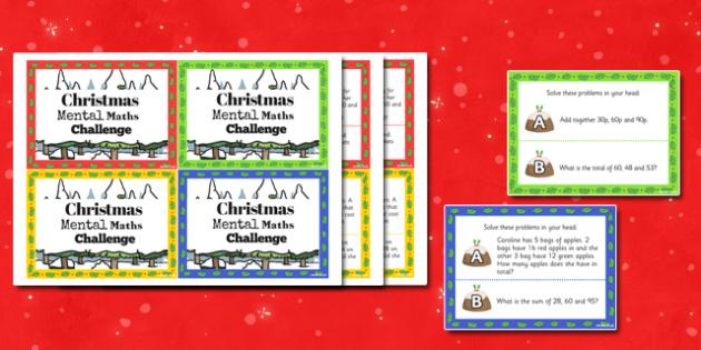 Christmas Mental Maths Challenge Cards - challenge, christmas