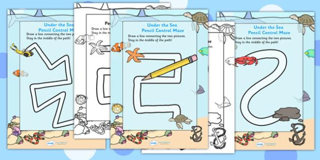 Under the Sea Pencil Control Path Activity Sheets - fine motor skills, worksheet