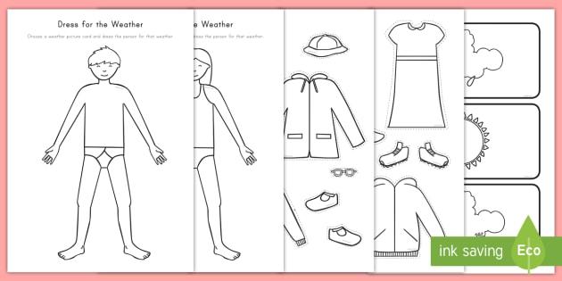 Us A 10 Dress For The Weather Activity Sheet on Kindergarten Curriculum