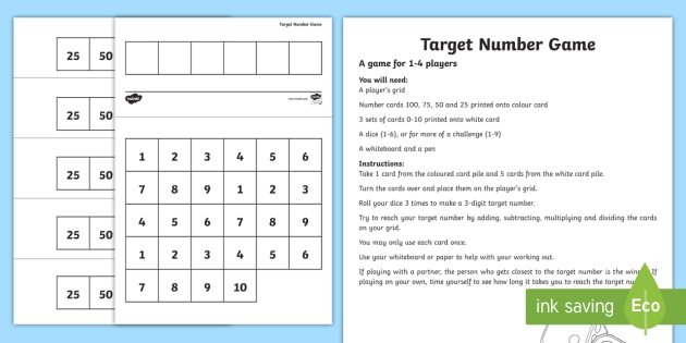 Target Numbers - Countdown Interactive Maths Game