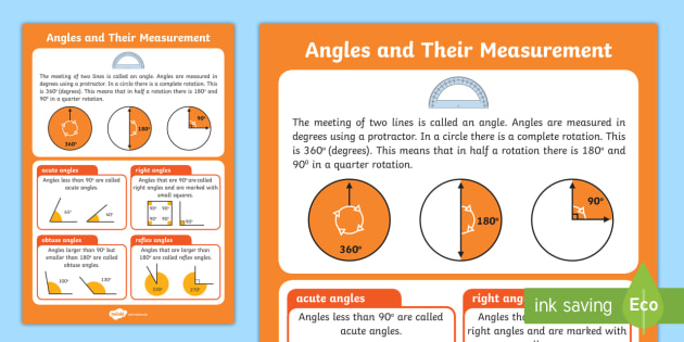Large Angles and their Measurements Poster - angles, poster