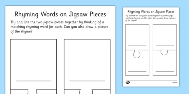 Rhyming Words Jigsaw Pieces Blank Template