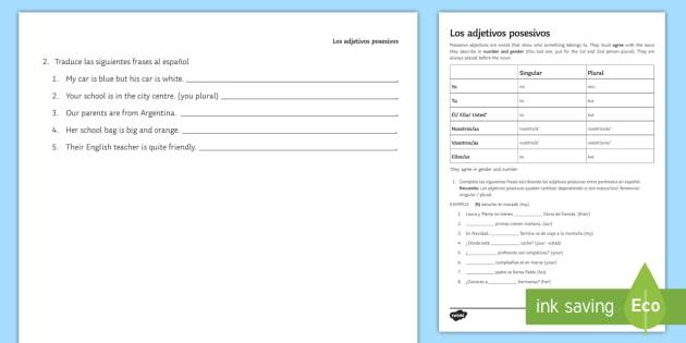 Possessive Adjectives In Spanish Worksheet Worksheet