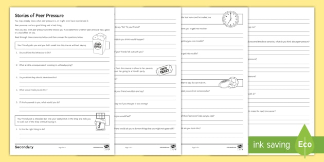 Peer Pressure Choices Worksheet Activity Sheet Young People