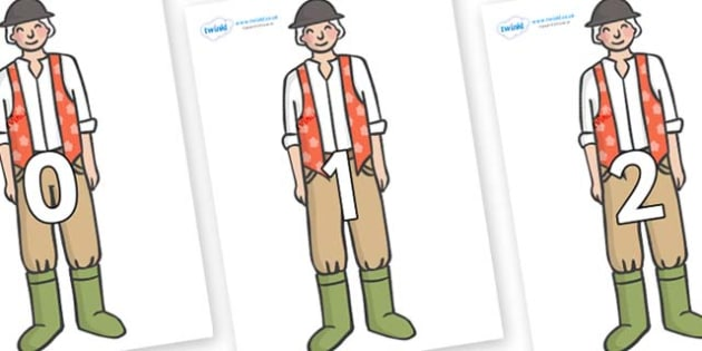 Numbers 0-100 on Farmer to Support Teaching on Pig in the Pond - 0-100, foundation stage numeracy, Number recognition, Number flashcards, counting, number frieze, Display numbers, number posters