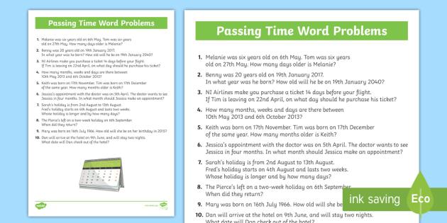 passing the time word problems worksheet activity sheet. Black Bedroom Furniture Sets. Home Design Ideas