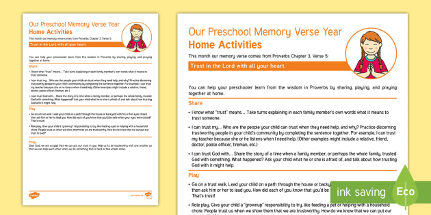 Proverbs 3:5 Memory Verse Family Worksheet / Worksheet - Bible