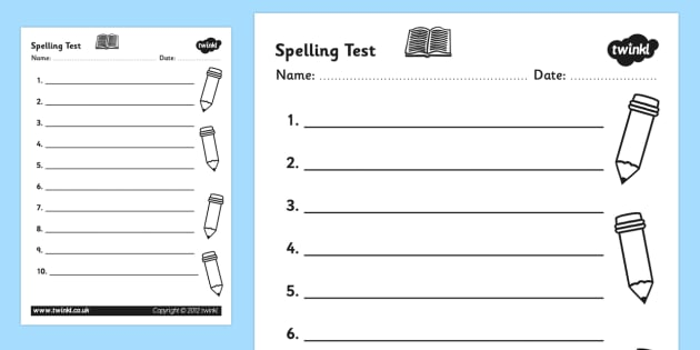 Spelling Test Template Worksheet  Spelling Test Spelling Test