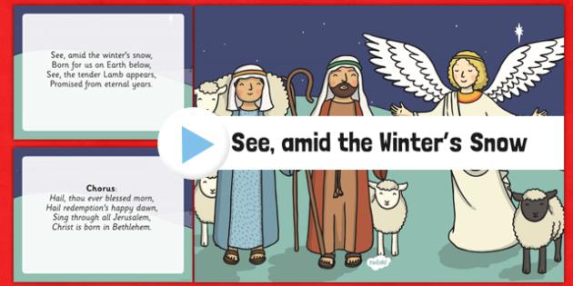 See amid the Winter's Snow Christmas Carol Lyrics PowerPoint - see amid the winters snow, christmas carol