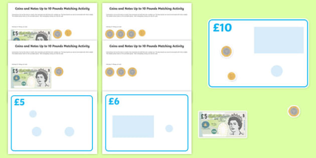 Workstation Pack: £1 -  £10 Coins and Notes Matching Activity Pack
