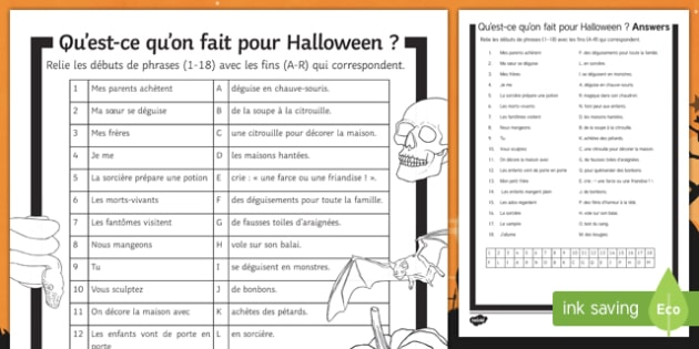Halloween Present Tense Match Up Worksheet Activity