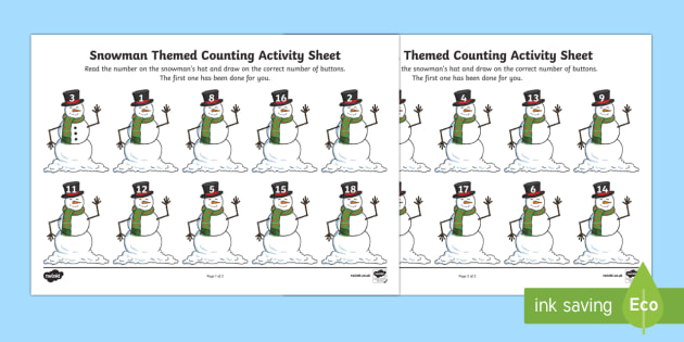 snowmen themed counting activity snowmen snowman winter. Black Bedroom Furniture Sets. Home Design Ideas