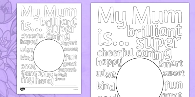 Australia Mother's Day Describing Words Drawing and Colouring Sheet