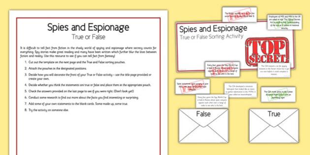 Spies and Espionage True or False - spies, espionage, true or false, home education