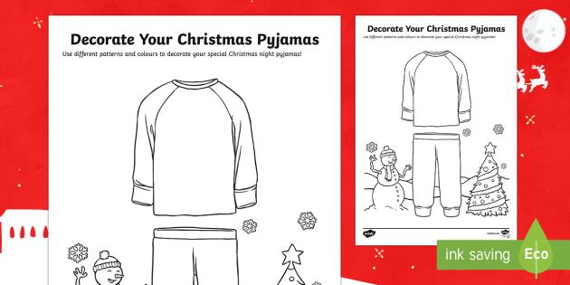 Decorate Your Christmas Pyjamas Worksheet / Activity Sheet