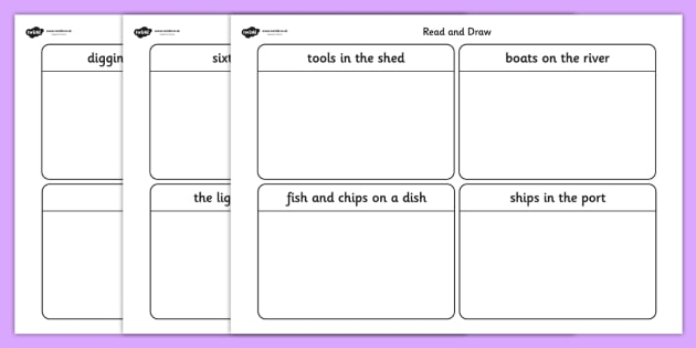 Phase 3 Caption Card Read and Draw Worksheets phase three – Read Worksheets